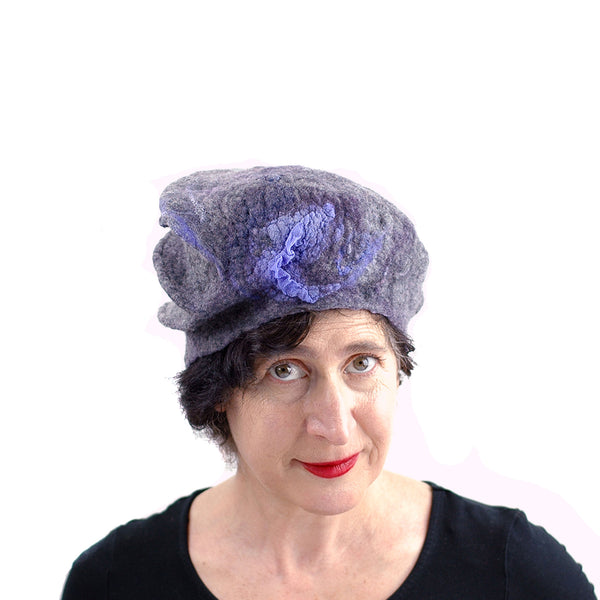 Gray Gotland Wool Beret with Purple Ruffle - front view