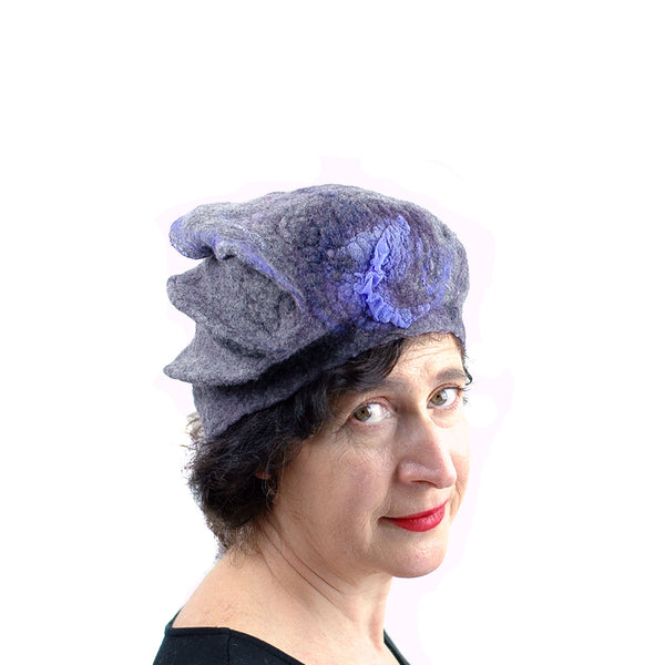 Gray Gotland Wool Beret with Purple Ruffle - side view