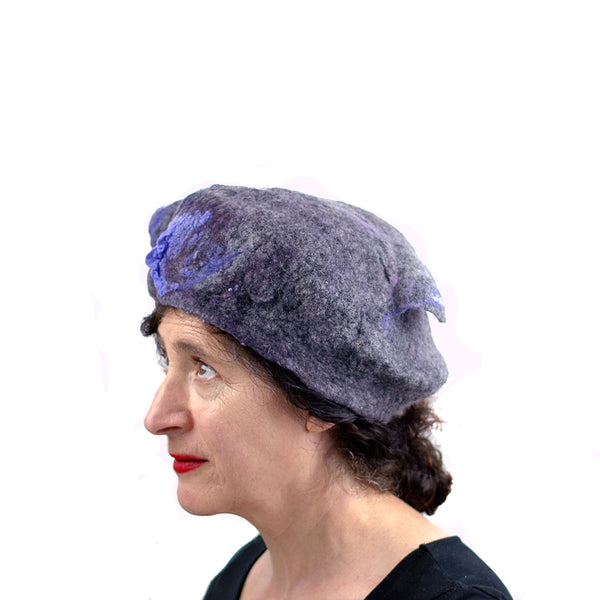 Gray Gotland Wool Beret with Purple Ruffle - another side view