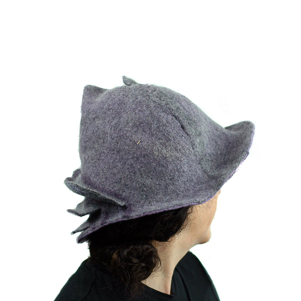 Purple and Gray, Gotland Wool Brimmed Hat with Ruffles - back view