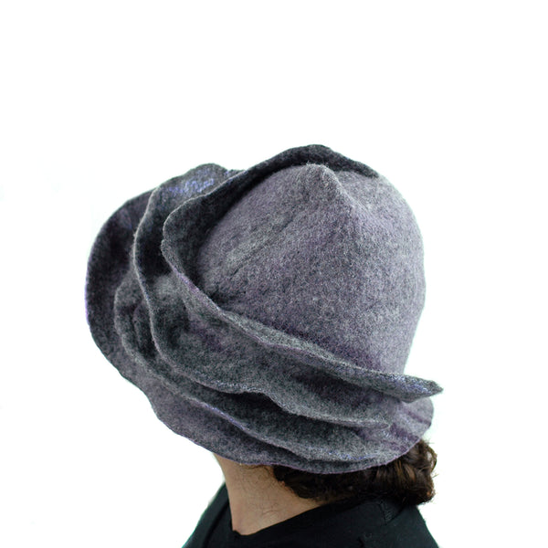 Purple and Gray, Gotland Wool Brimmed Hat with Ruffles - side view 2