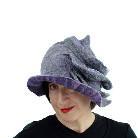 Purple and Gray, Gotland Wool Brimmed Hat with Ruffles - front view