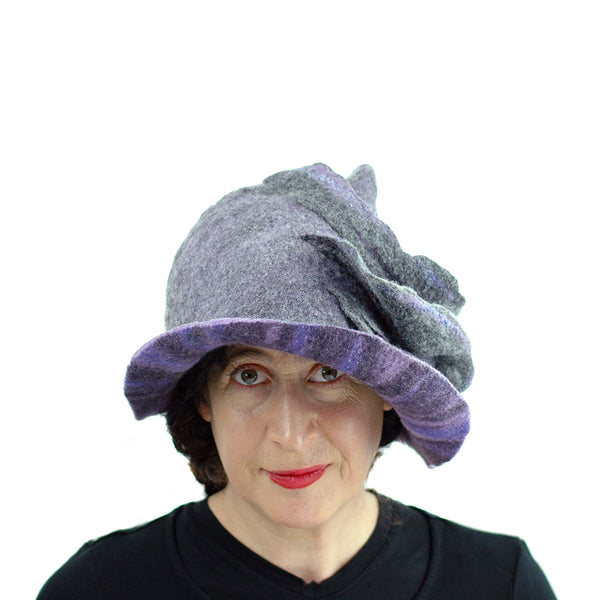 Purple and Gray, Gotland Wool Brimmed Hat with Ruffles - front view 2