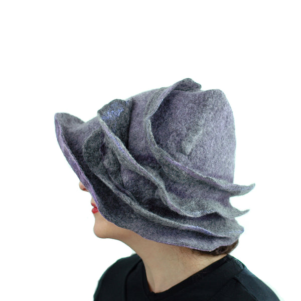 Purple and Gray, Gotland Wool Brimmed Hat with Ruffles - side view 1