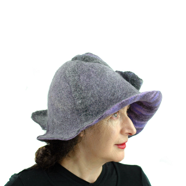 Purple and Gray, Gotland Wool Brimmed Hat with Ruffles - side view 3