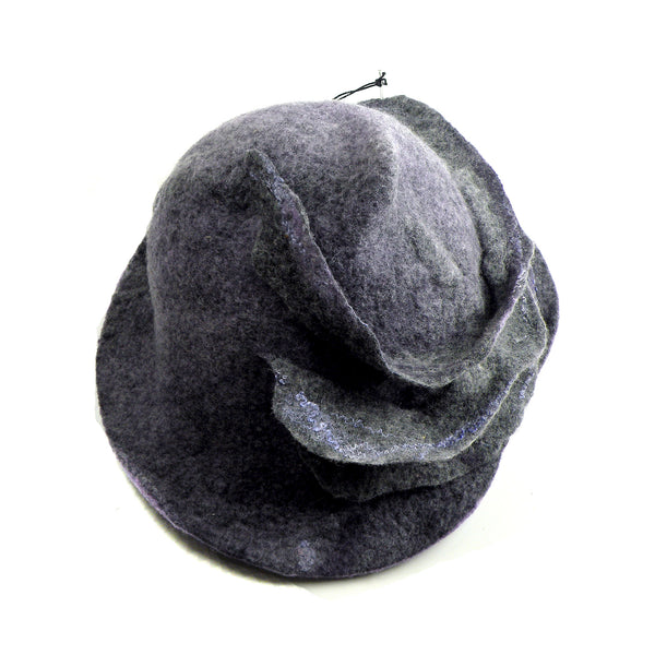 Purple and Gray, Gotland Wool Brimmed Hat with Ruffles - top view