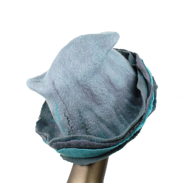 Gray Wide Brimmed Felted Hat with Organic Layers - back view