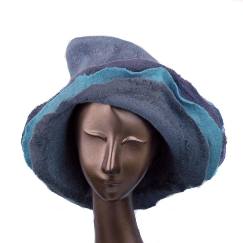 Gray Wide Brimmed Felted Hat with Organic Layers - front view