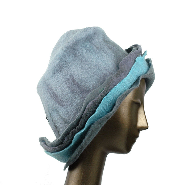 Gray Wide Brimmed Felted Hat with Organic Layers - side view