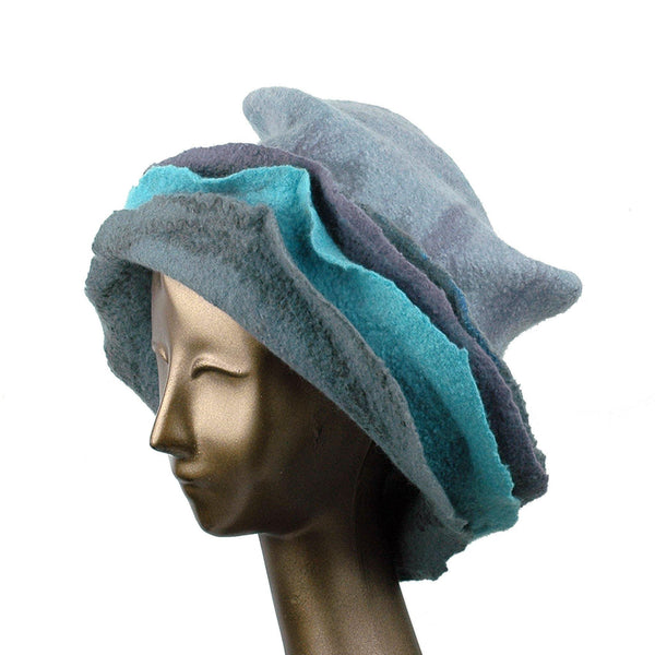 Gray Wide Brimmed Felted Hat with Organic Layers - three quarters view