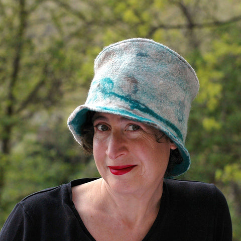 Highland Style Green and Brown Felted Top Hat - front view