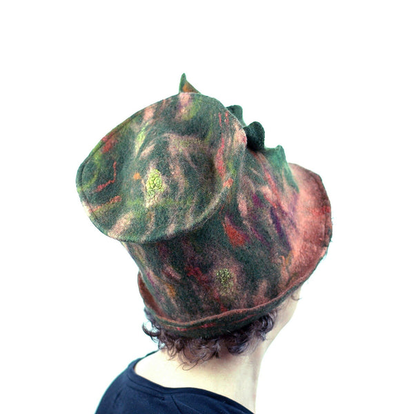 Green and Orange Felted Top Hat with Vertical Ruffles - back view