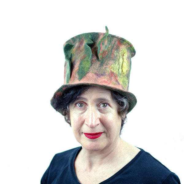 Green and Orange Felted Top Hat with Vertical Ruffles - front view