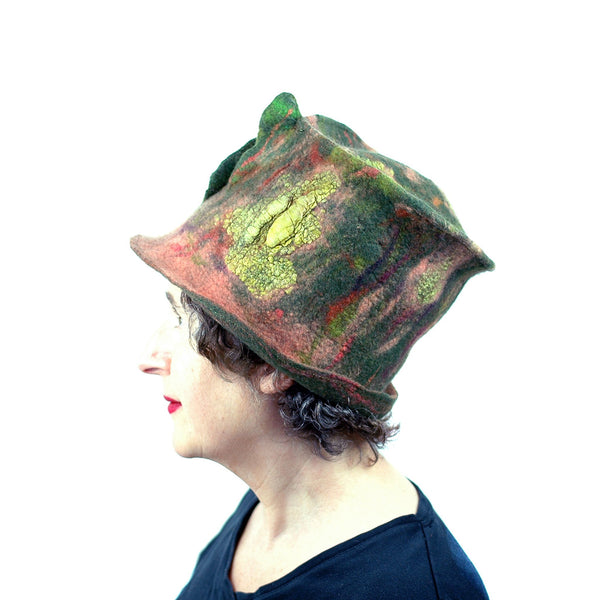 Green and Orange Felted Top Hat with Vertical Ruffles - side view