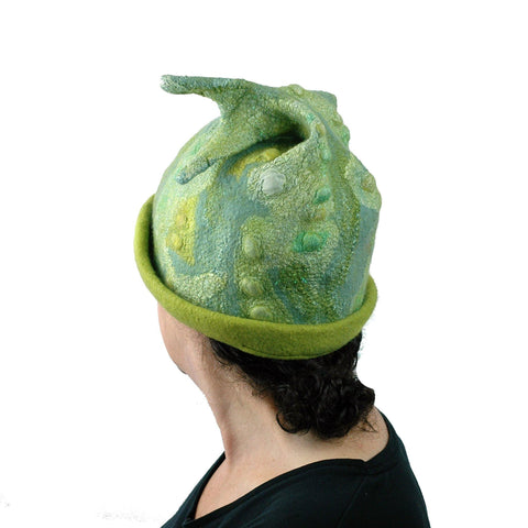 Green Beanie Hat with Sculptural Fish Tail - Extra Large Size Hat -Back View