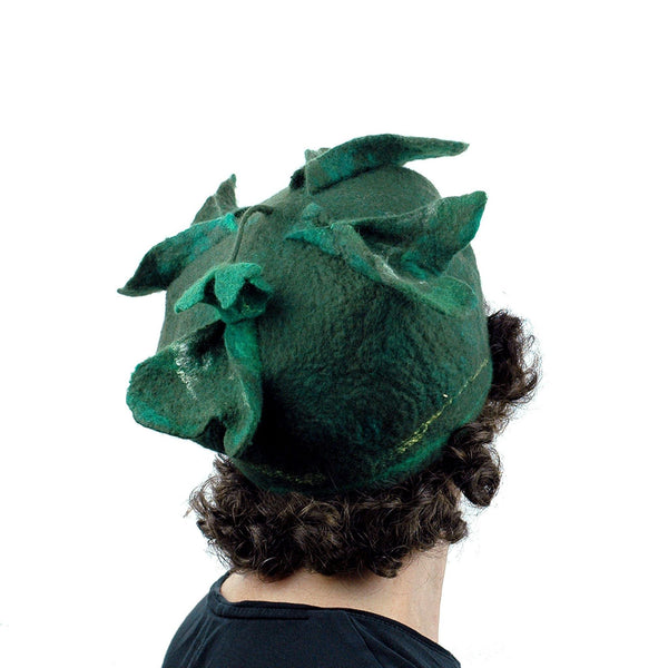 Green Four Leaf Clover Felted Hat - back view