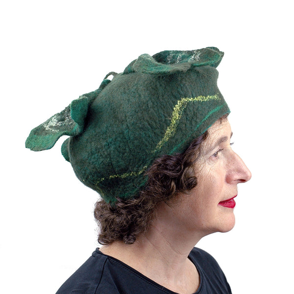 Green Four Leaf Clover Felted Hat - side view