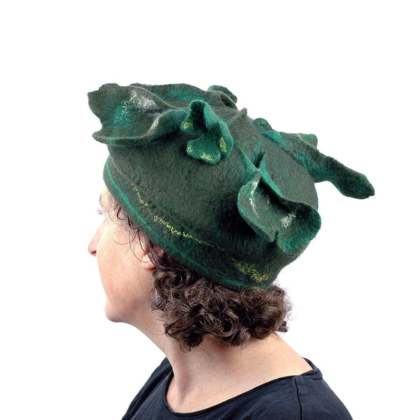 Green Four Leaf Clover Felted Hat - side-back view