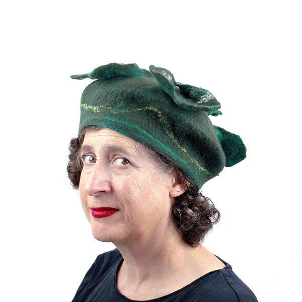 Green Four Leaf Clover Felted Hat - three quarters view