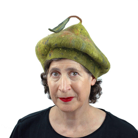 Green Pear Felted Beret with Leaf