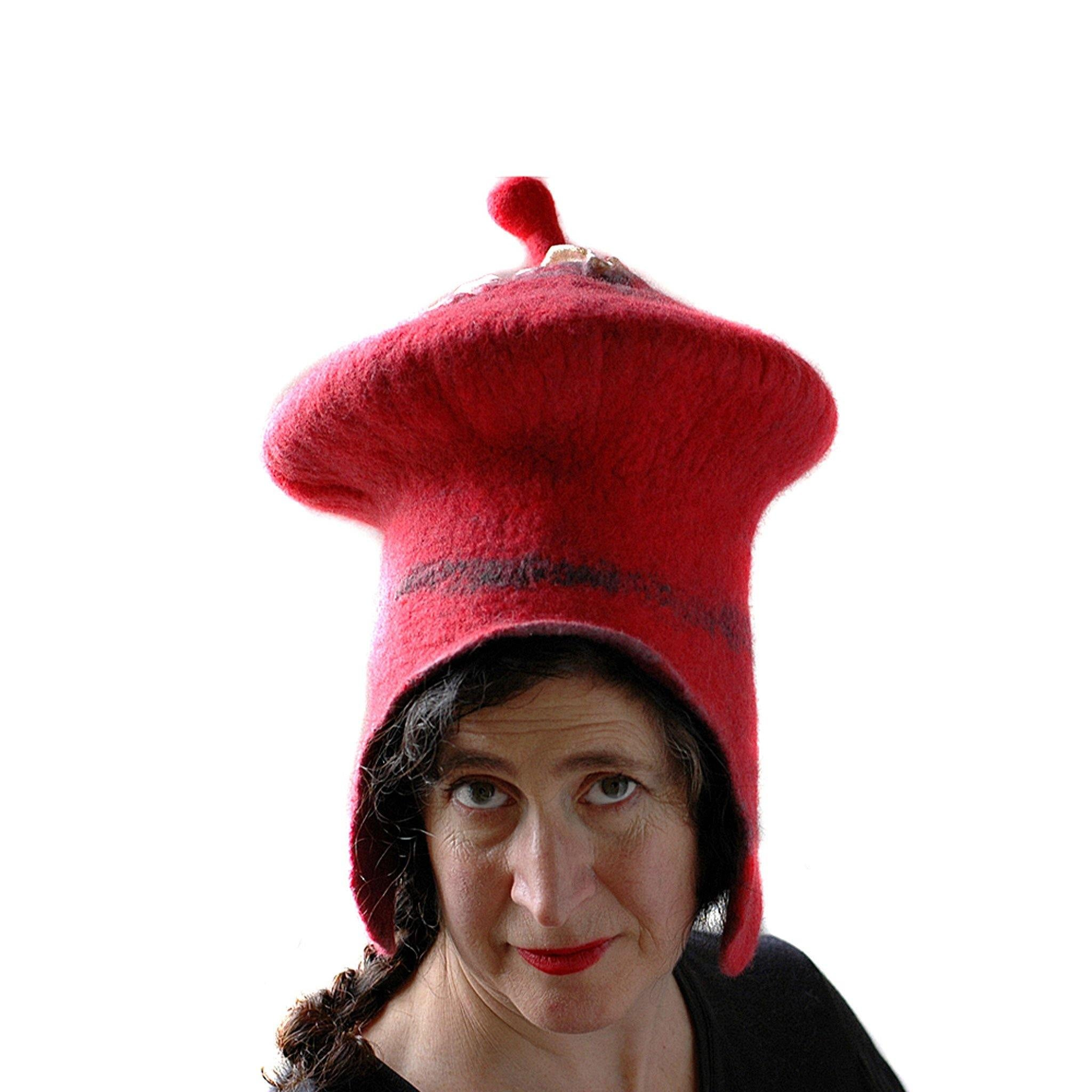 Watermelon Red Sci Fi Mushroom Wizard Hat with Earflaps - front view