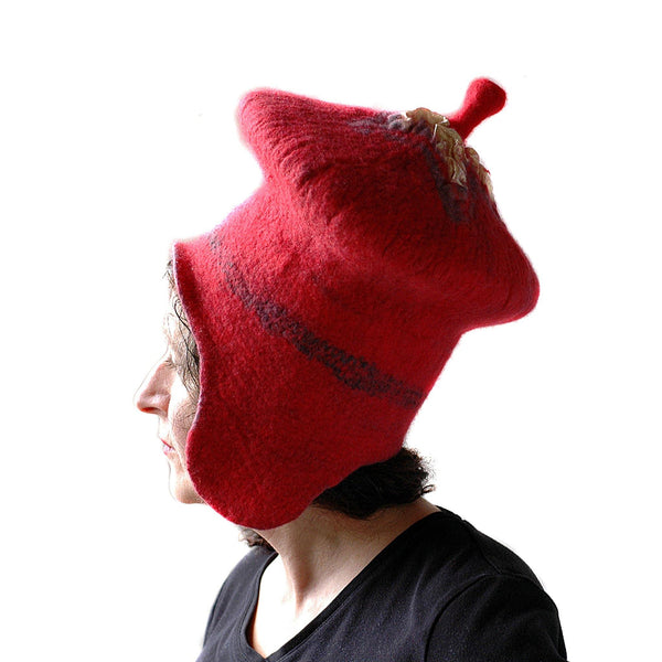 Watermelon Red Sci Fi Mushroom Wizard Hat with Earflaps - side view 1