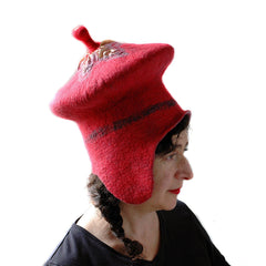 Unusual Watermelon Red Felted Hat with Earflaps and Antenna on Top.