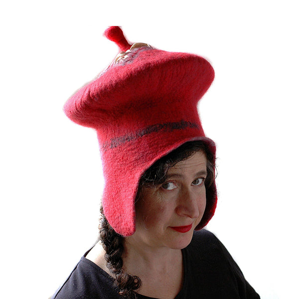 Watermelon Red Sci Fi Mushroom Wizard Hat with Earflaps - side view 2