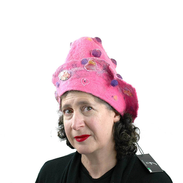 Hot Pink Conversation Hearts Hat - threequarters view