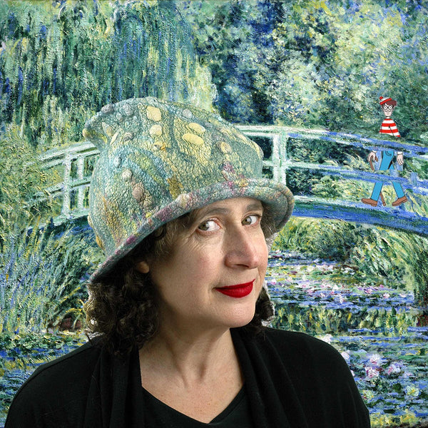 Impressionist Hat set in Monet's painting of GIverny with where's Waldo/Wally.