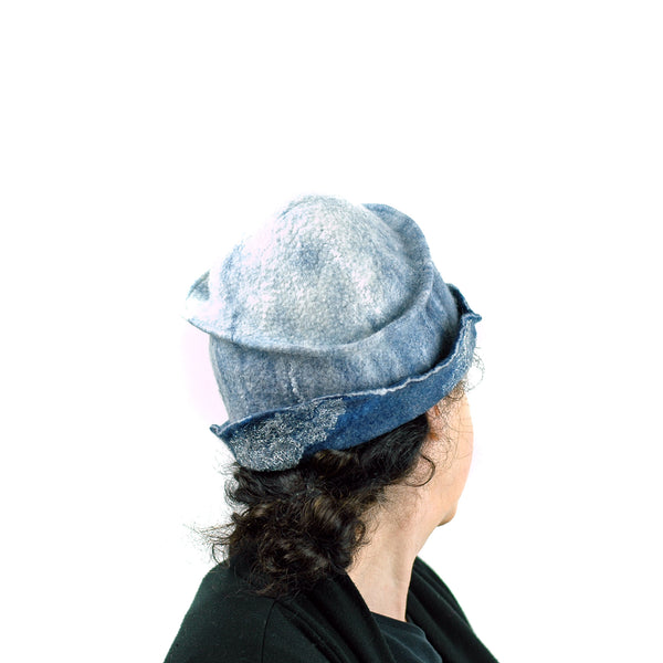 Indigo and White Felted Cloche Hat made with Superfine Merino Wool and Silver Lace - back view