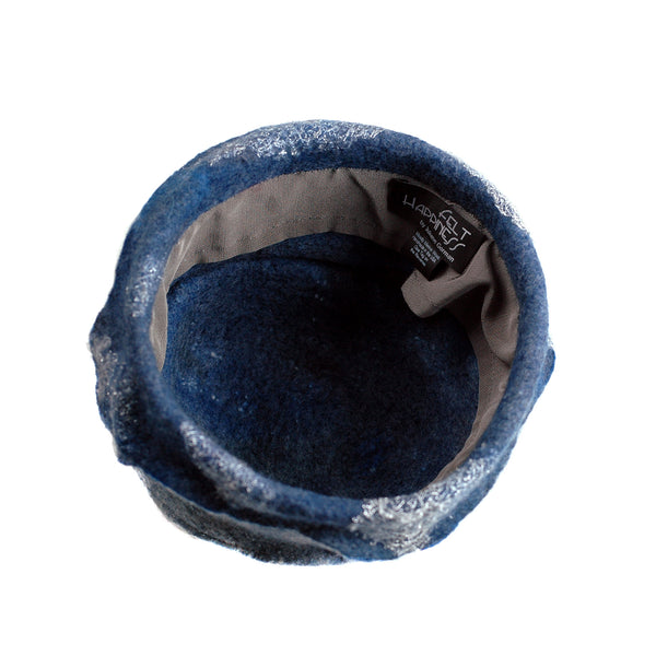 Indigo and White Felted Cloche Hat made with Superfine Merino Wool and Silver Lace - inside view