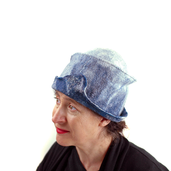 Indigo and White Felted Cloche Hat made with Superfine Merino Wool and Silver Lace - left side view