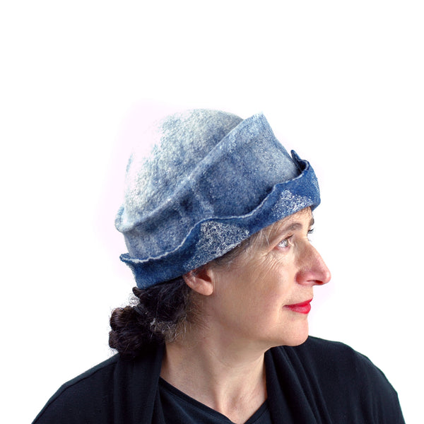 Indigo and White Felted Cloche Hat made with Superfine Merino Wool and Silver Lace - right side view