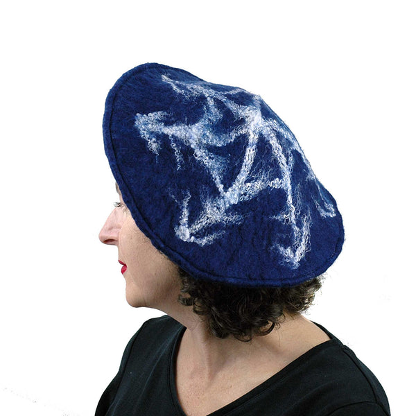 Indigo Snowflake Felted Beret - side view