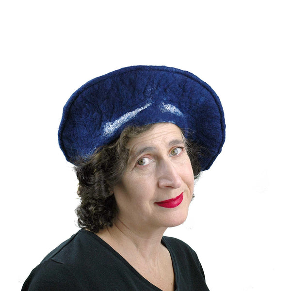 Indigo Snowflake Felted Beret - three quarters view