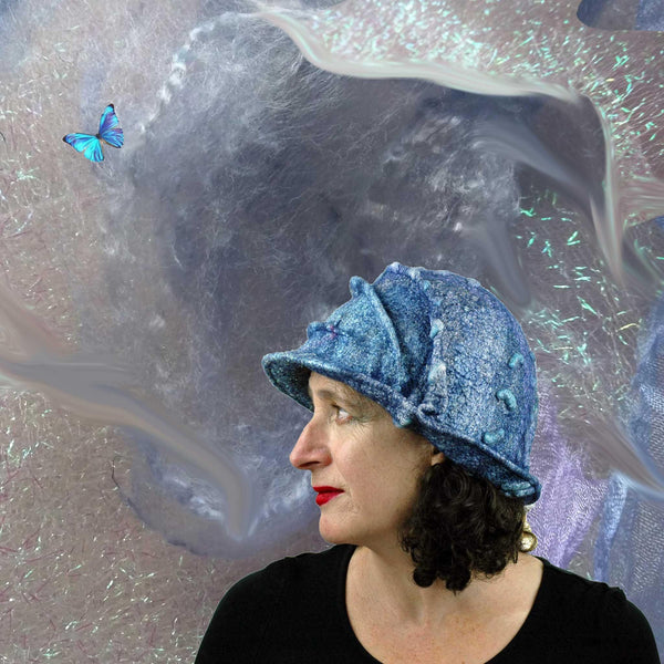 Iridescent Blue Violet Bucket Hat with fabrics and Morphos butterfly.
