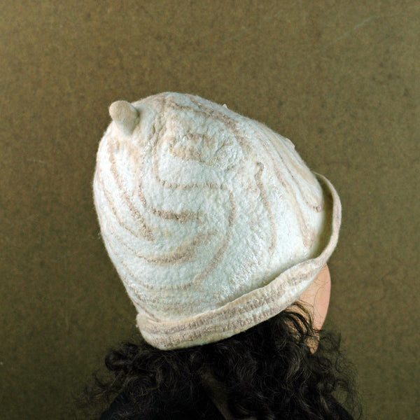 Ivory and Sepia Cloche Hat -back view