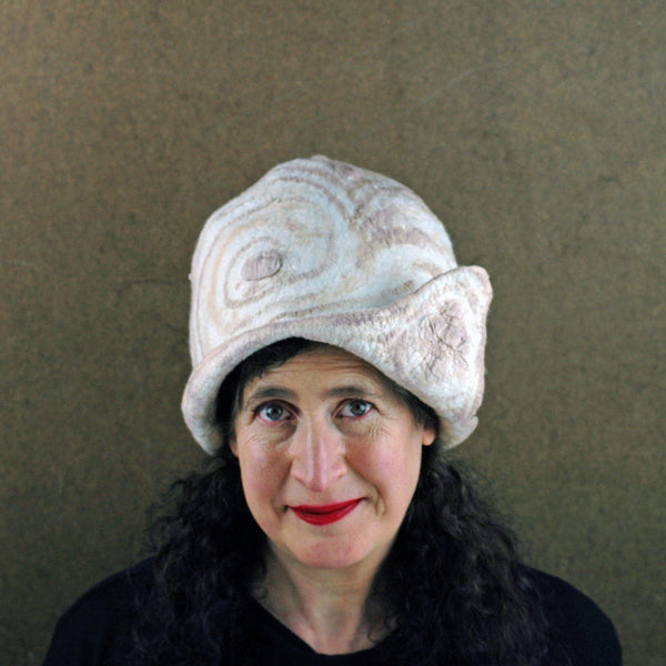 Ivory and Sepia Cloche Hat - front view