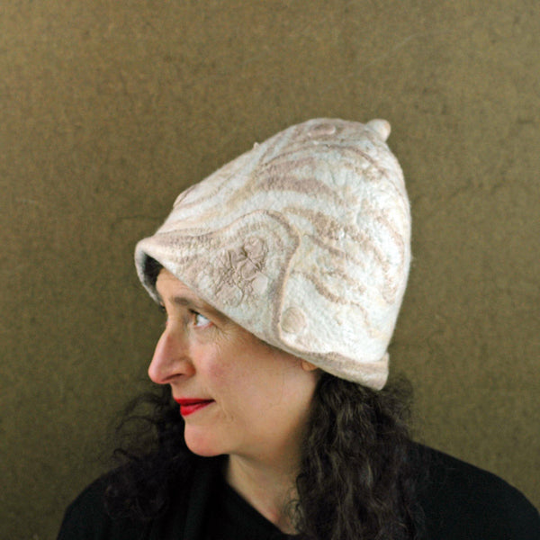 Ivory and Sepia Cloche Hat - side view