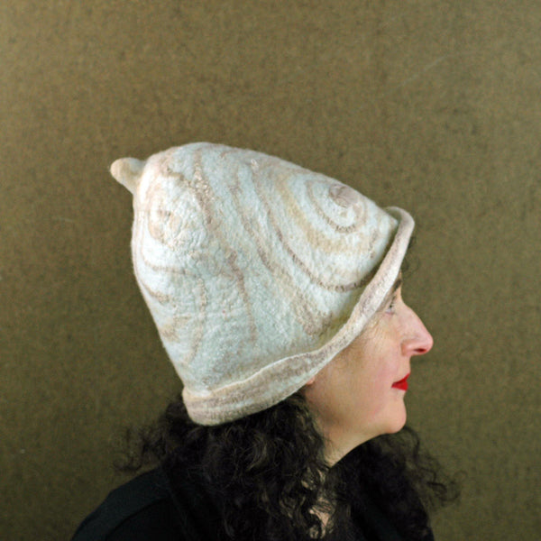 Ivory and Sepia Cloche Hat - side view 2