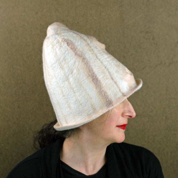 Tall Ivory and Sepia Hat - side view 2