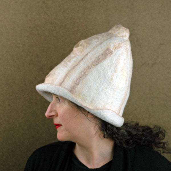 Tall Ivory and Sepia Hat - side view