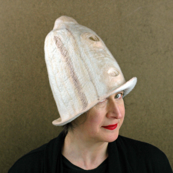 Tall Ivory and Sepia Hat - three quarters view 2