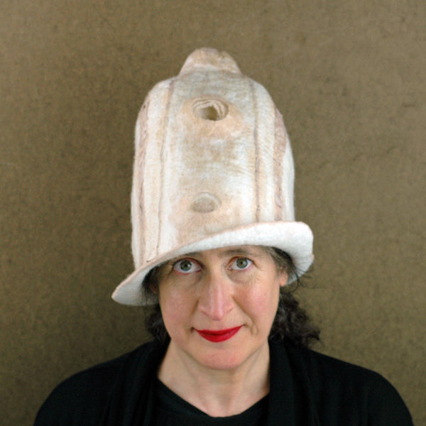 Tall Ivory and Sepia Hat - front view