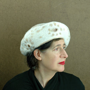Ivory Cheetah Beret - side view
