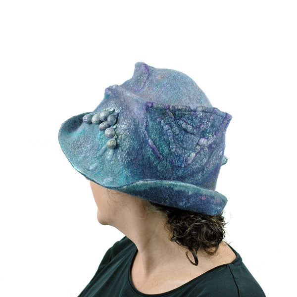 Jewel Toned Blue and Purple Bucket Hat - back  view