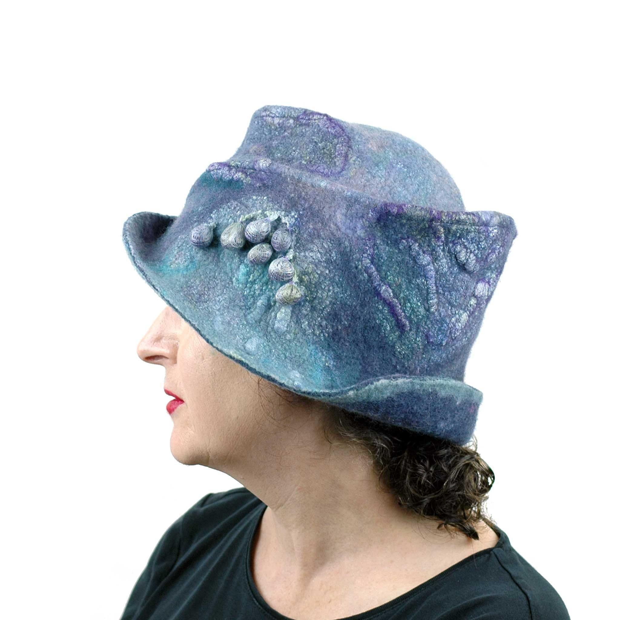 Jewel Toned Blue and Purple Bucket Hat - side view