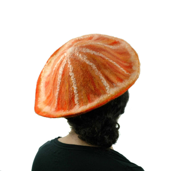 Kawaii Orange Slice Felted Beret - back view