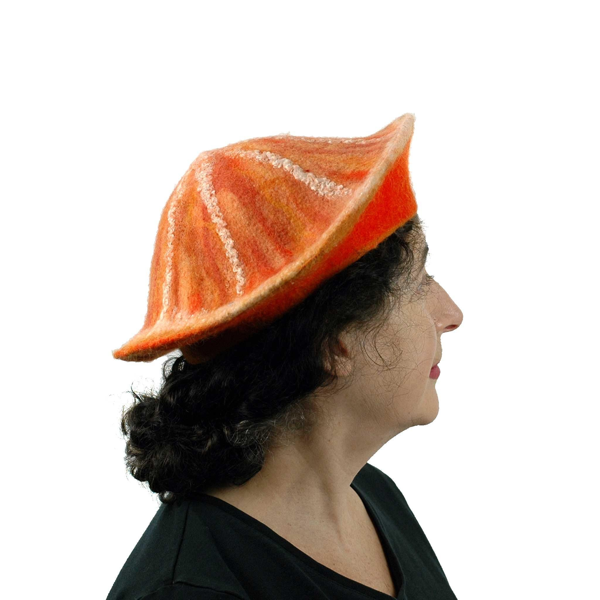 Kawaii Orange Slice Felted Beret - side view